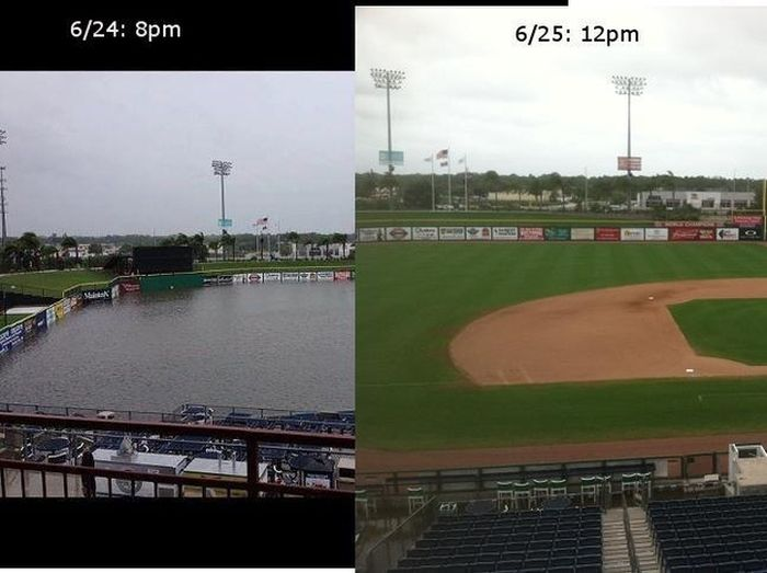Tropical Storm Debbie Turns Baseball Field Into Swimming Pool (4 pics)