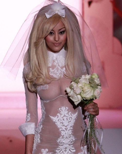 Zahia Dehar Wearing Sexy Wedding Dress (10 pics + video)