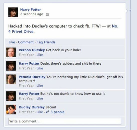 Harry Potter on Facebook (8 pics)