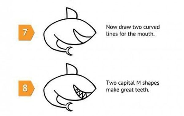 How To Draw a Shark (5 pics)