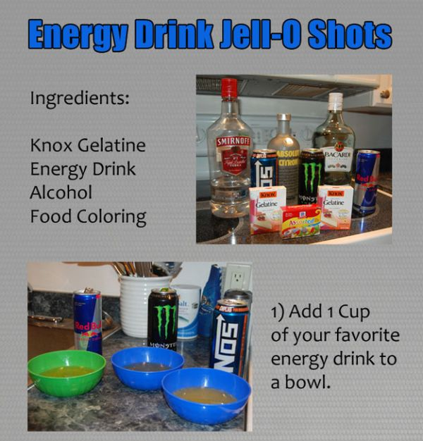 DIY Energy Drinks and Vodka Jello Shots (1 pic)