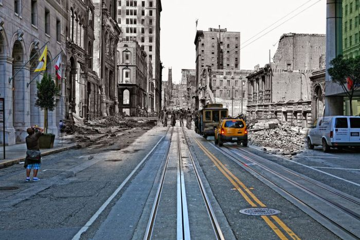 San Francisco after the Earthquake of 1906 and Now (25 pics)