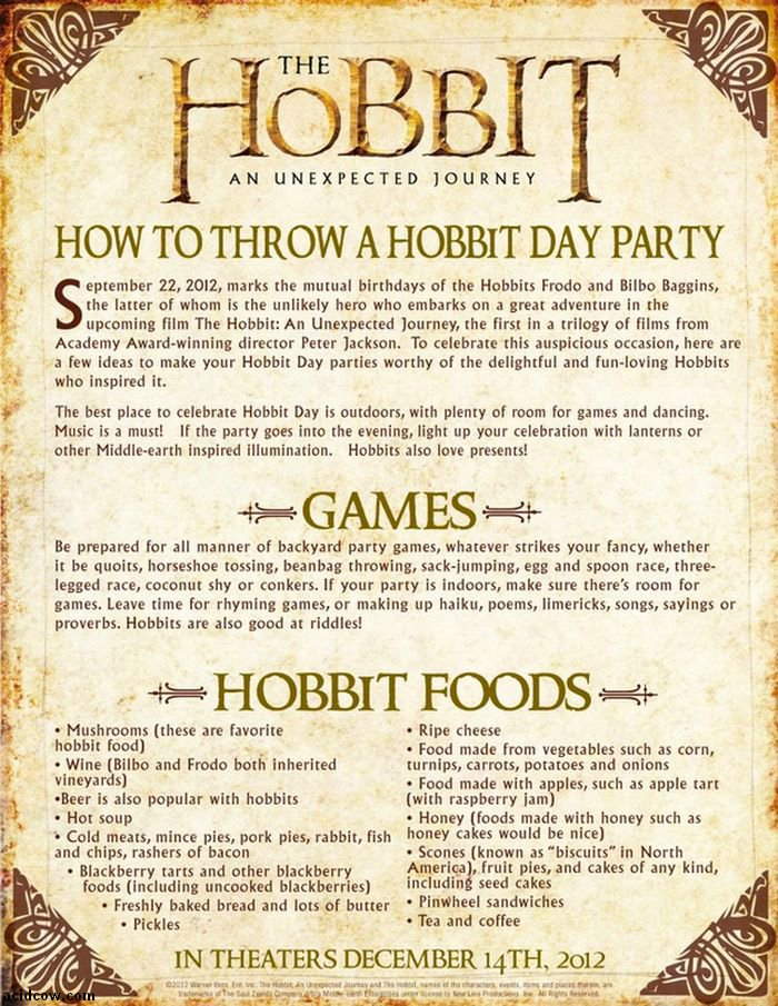 Hobbit Birthday Party (2 pics)