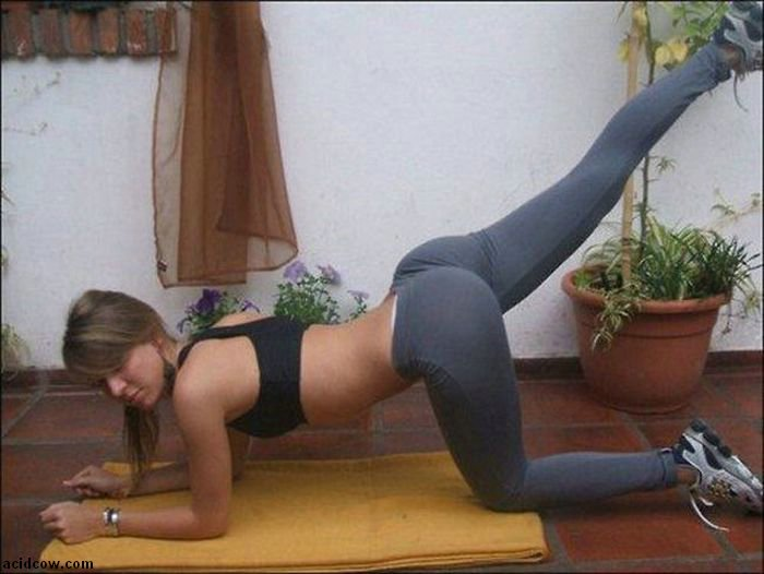 Girls in yoga pants bent over ass question