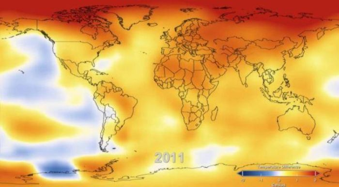 Global Surface Temperature Rise (6 pics + video)