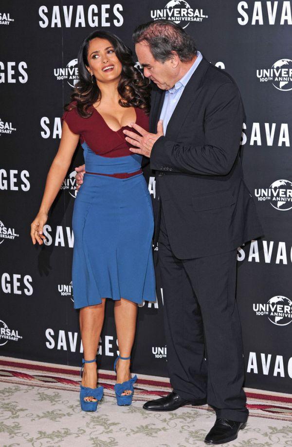 Oliver Stone Grabs Salma Hayek's Boobs (5 pics)