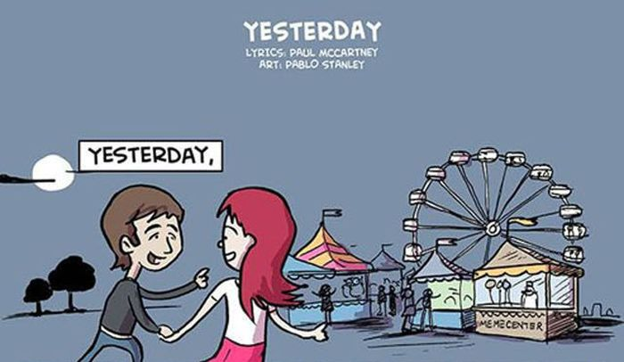 "The Beatles ""Yesterday"" Lyrics in Illustration (1 pic)"