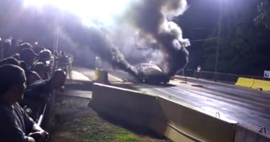 Powerful Supercharged 3X Mustang Burnout