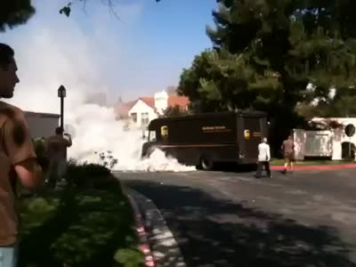 Craziest Delivery Truck Engine Burnout