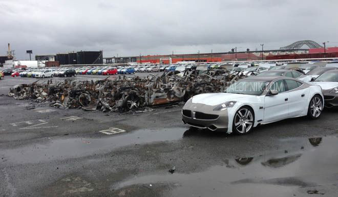 16 Fisker Karma Cars Burned at New Jersey Port (4 pics)
