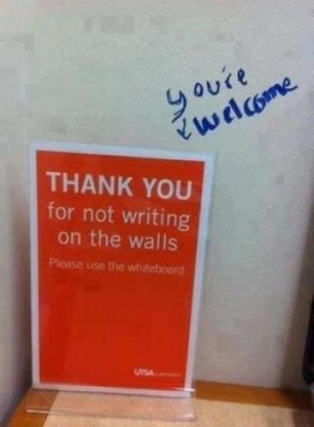 Smart-Ass Replies to Written Notes (17 pics)