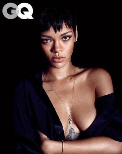 Rihanna Takes Off Her Shirt For GQ (7 pics)