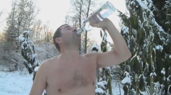 Norwegian Guy Celebrates The First Snow