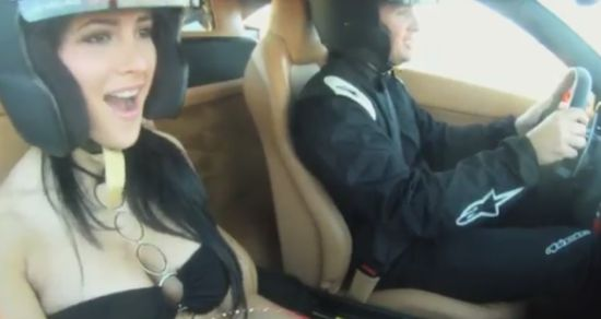 Girl's Reaction to Extreme Ride in Ferrari 458 Italia