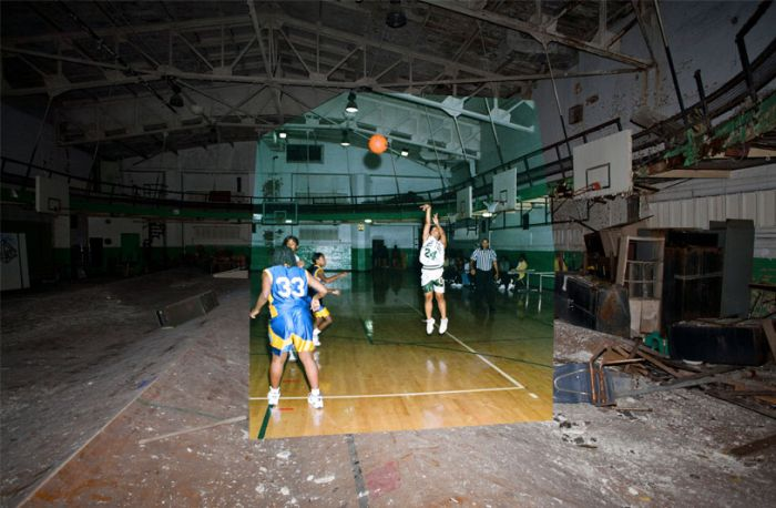 Abandoned Detroit School. Then and Now (9 pics)