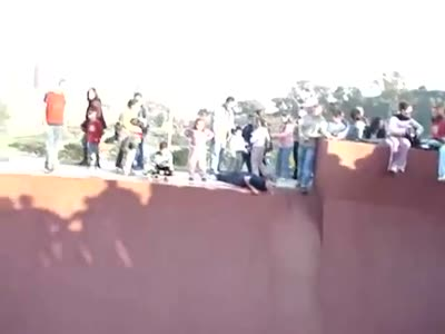 Crowd is Saving a Boy Who Can't Get Out from Skater Pool