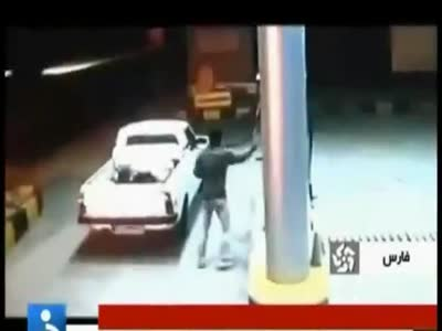 Car Explosion at Gas Station