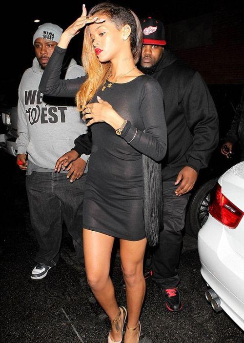 Rihanna in a See Trough Dress (4 pics)