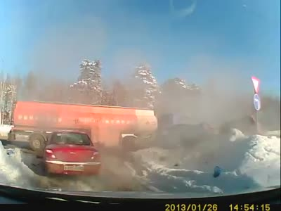 Massive Car Accident With Truck