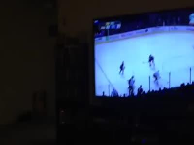 Cat Watching Hockey