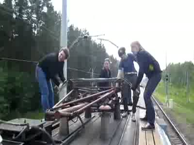 Stupid Russian Teenagers Riding a Train