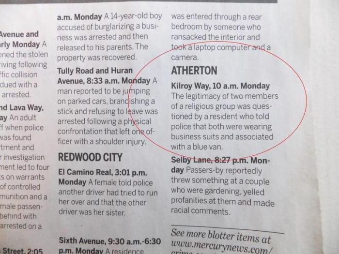 Police Blotter Reports From Atherton, California (19 pics)
