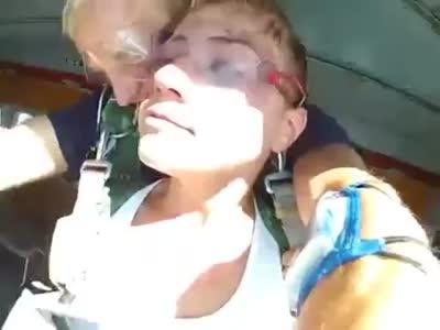 Girl Afraids to Jump With Parachute
