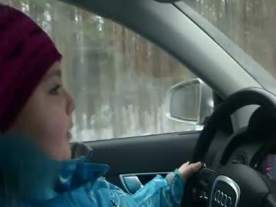 Little Girl Driving Mother's Audi