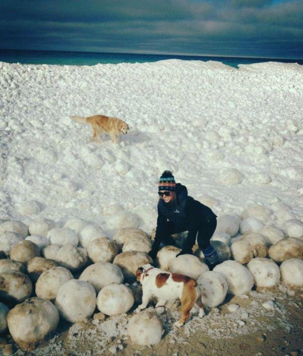 Ice Balls near Sleeping Bear Dunes (3 pics)