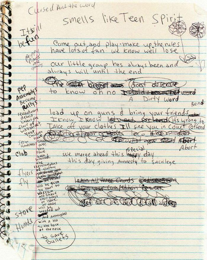 "Kurt Cobain's Draft of the Song ""Smells Like teen Spirit"""