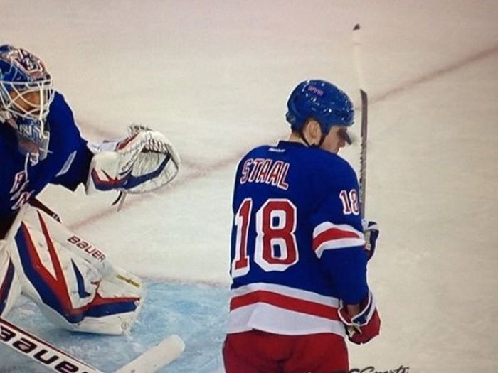 Marc Staal Takes Puck to the Face (7 pics)