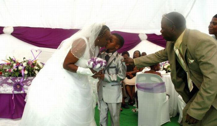 8-Year-Old Boy Marries 61-Year-Old Woman (6 pics)