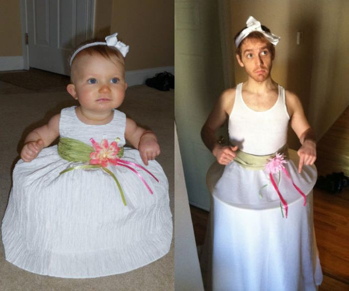 Guy Re-enacts Scenes in Baby Photos (25 pics)