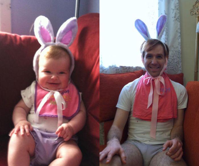 Guy Re-enacts Scenes in Baby Photos (25 pics)
