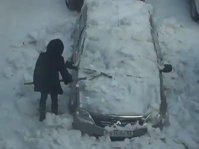Girl Cleans Her Car With Iron Shovel