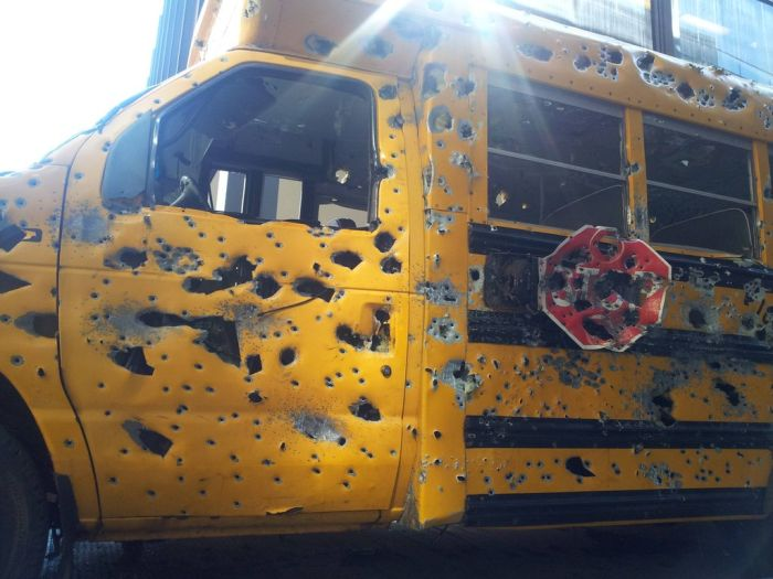School Bus After a Gun Range (6 pics)
