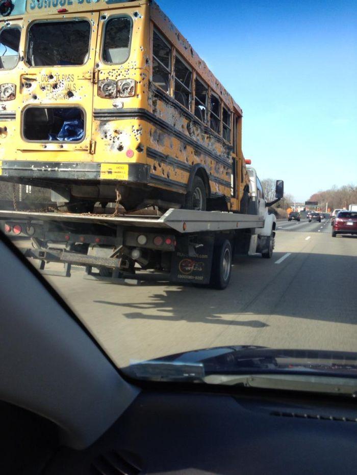 School Bus After a Gun Range (6 pics)
