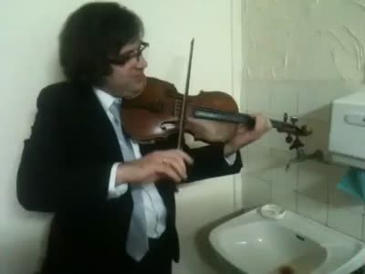 Violin Accompaniment With Water Faucet Sounds