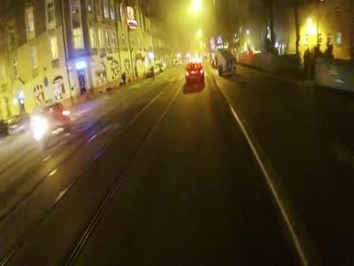 Biker Helps Pedestrian to Get into Tram