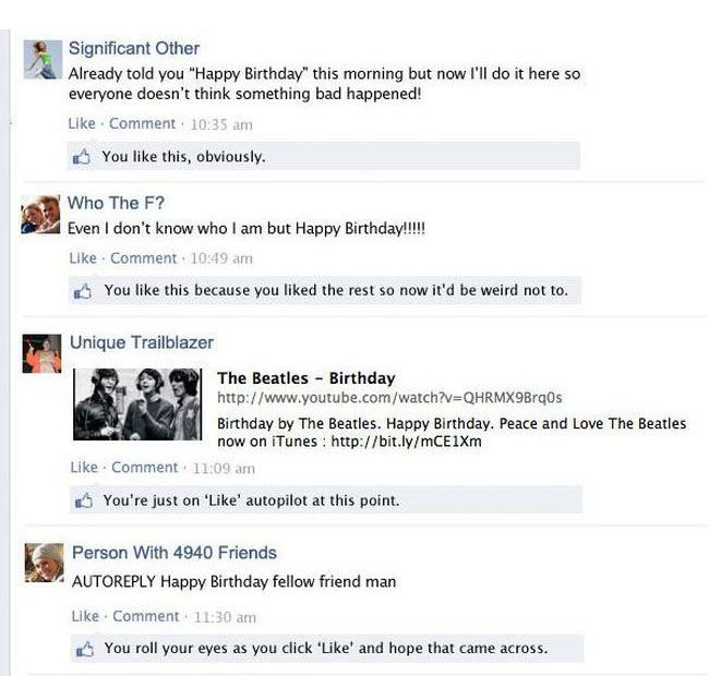 Every Facebook Birthday Wall Ever (5 pics)