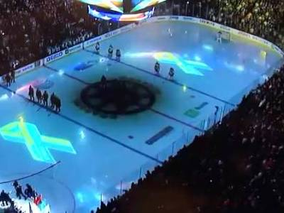 People in Boston Singing the National Anthem
