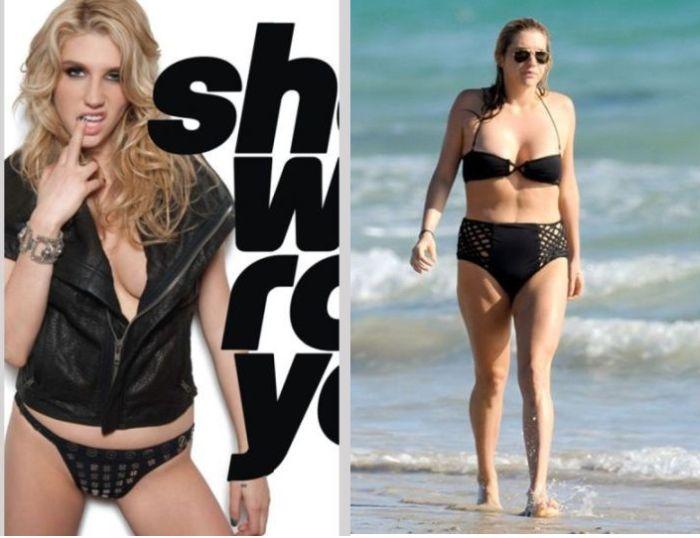 Photoshopped Celebrities vs Real Life Celebrities (12 pics)