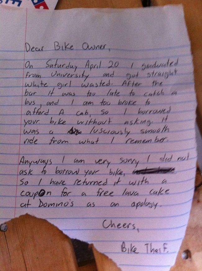 Bike Thief Returns Bike With Hilarious Note (3 pics)