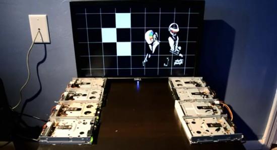 Awesome Way to Play Daft Punk Aerodynamic on Floppy Drives