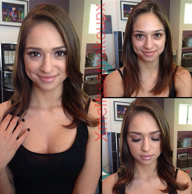 Adult Film Actresses With and Without Makeup. Part 2 (26 pics)