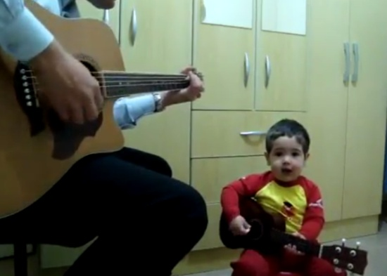 Father and 2-Year-Old Son Band Singing Beatles Cover