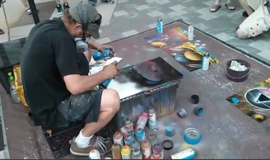 Awesome Street Artist Showing Skills