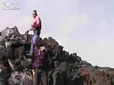 Crazy Man Runs over Lava