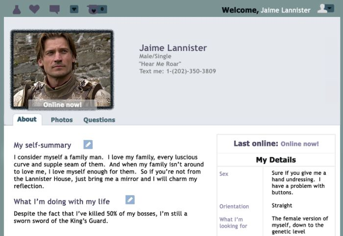 Game of Thrones Dating Profiles (5 pics)