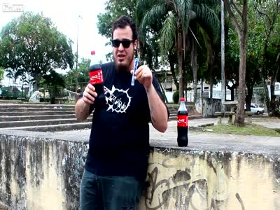 Weird Guy Drinks Coke and Eats Mentos